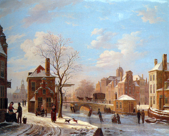 Bartholomeus Johannes Van Hove Dutch Town Scene in Winter - Canvas Art Print