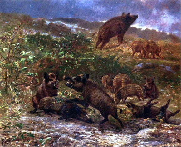 Karl Bodmer A Family of Wild Boar - Canvas Art Print