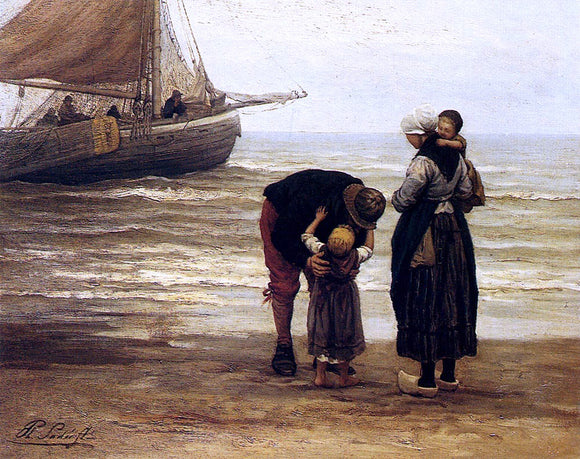 Philip Lodewijk Jacob Frederik Sadee A Fisherman's Goodbye - Canvas Art Print