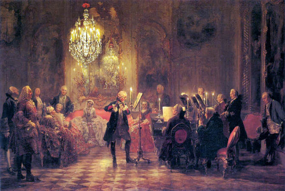 Adolph Von Menzel A Flute Concert of Frederick the Great at Sanssouci - Canvas Art Print