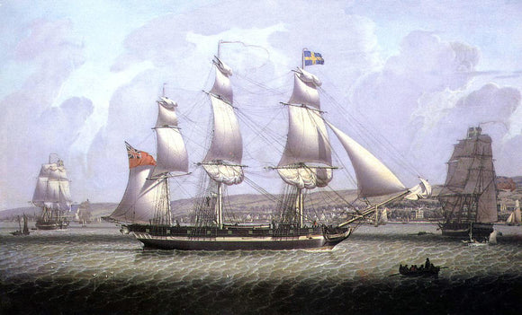Robert Salmon A Frigate of the Baltic Fleet off Greenock - Canvas Art Print