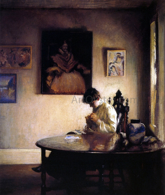 Edmund Tarbell Girl Crocheting - Canvas Art Print
