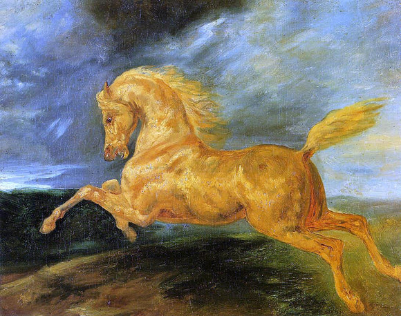 Theodore Gericault A Horse Frightened by Lightening - Canvas Art Print