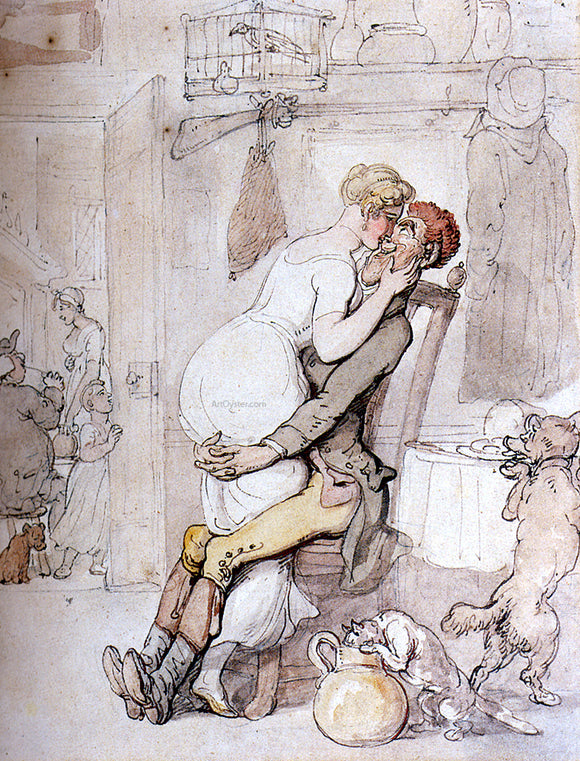 Thomas Rowlandson Kiss In The Kitchen - Canvas Art Print