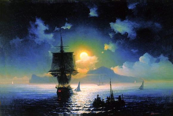 Ivan Constantinovich Aivazovsky A Lunar Night on Capri - Canvas Art Print
