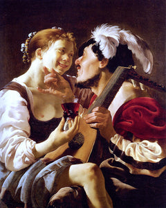 Hendrick Terbrugghen A Luteplayer Carousing With A Young Woman Holding A Roemer - Canvas Art Print
