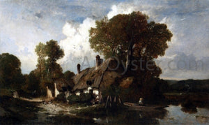 Adolphe Hervier Man in a Boat by a Cottage in a Wooded River Landscape - Canvas Art Print