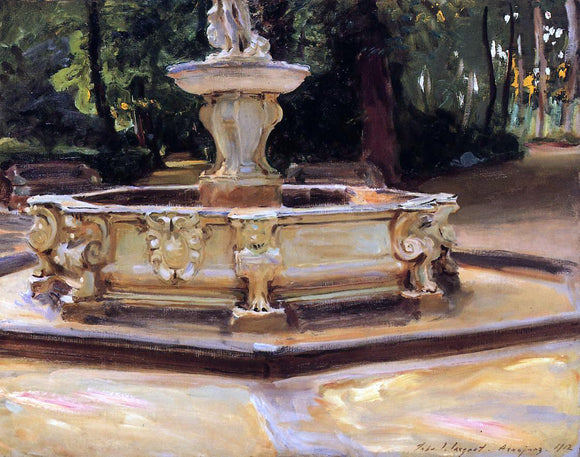 John Singer Sargent A Marble Fountain at Aranjuez, Spain - Canvas Art Print