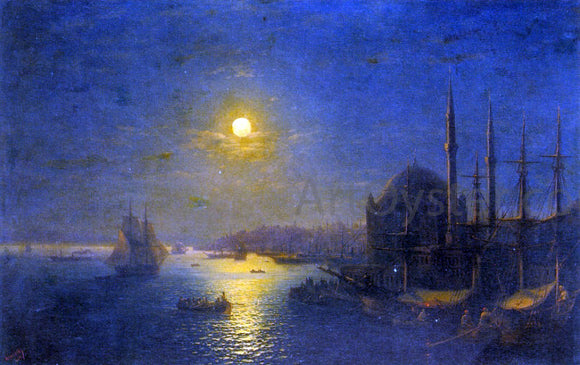 Ivan Constantinovich Aivazovsky A Moonlit View of the Bosphorus - Canvas Art Print