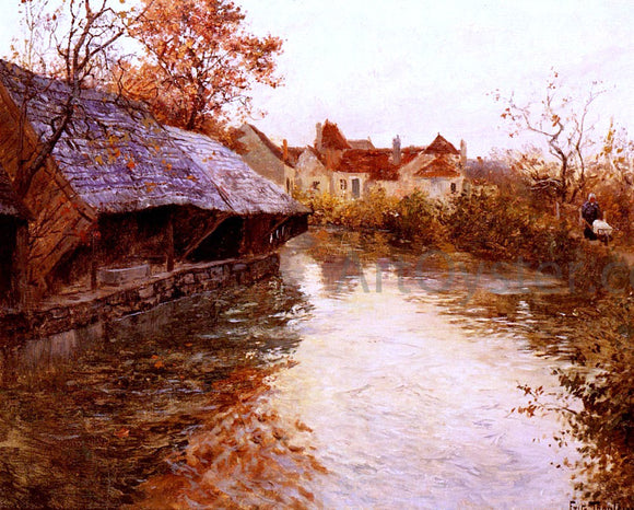 Fritz Thaulow A Morning River Scene - Canvas Art Print