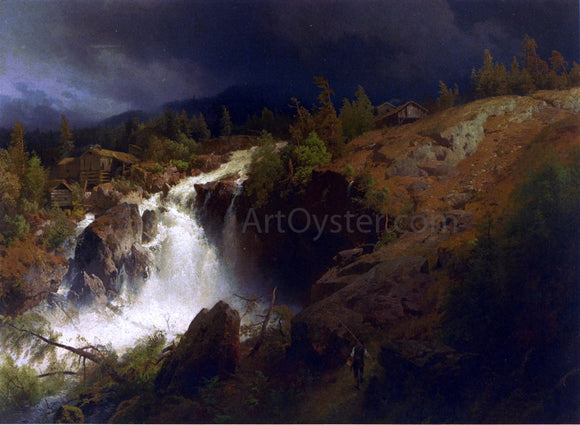 Herman Herzog A Mountain Torrent - Canvas Art Print