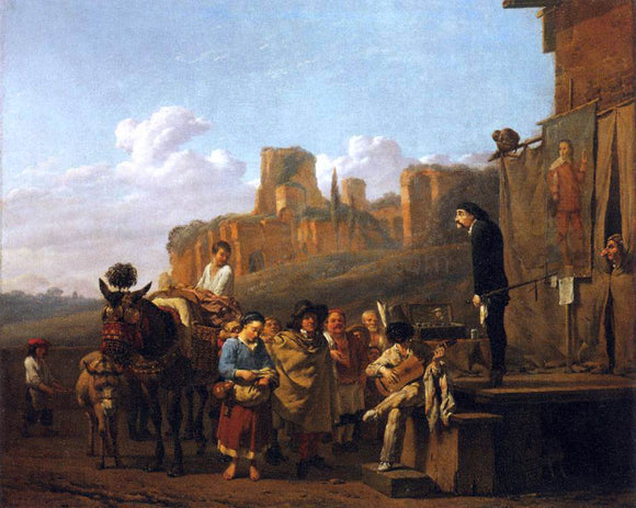 Karel Dujardin A Party of Charlatans in an Italian Landscape - Canvas Art Print