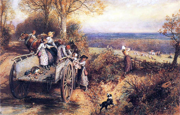 Myles Birket Foster A Peep at the Hounds, Here They Come! - Canvas Art Print