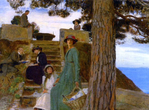 George Spencer Watson A Picnic at Portofino 1911 - Canvas Art Print