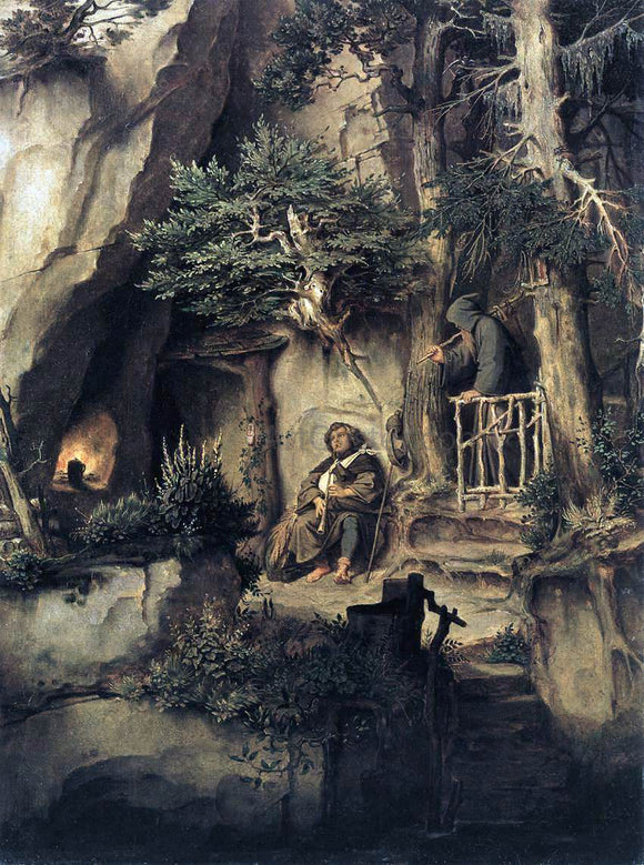 Moritz Von Schwind A Player with a Hermit - Canvas Art Print