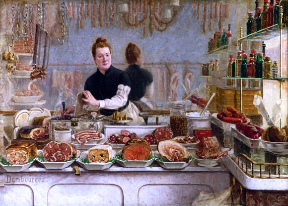 Edouard-Jean Dambourgez A Pork Butcher's Shop - Canvas Art Print