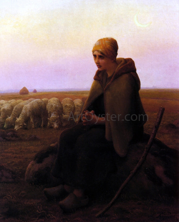 Aime Perret A Resting Shepherdess - Canvas Art Print