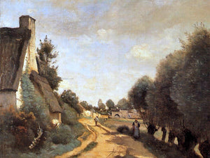 Jean-Baptiste-Camille Corot A Road near Arras - Canvas Art Print
