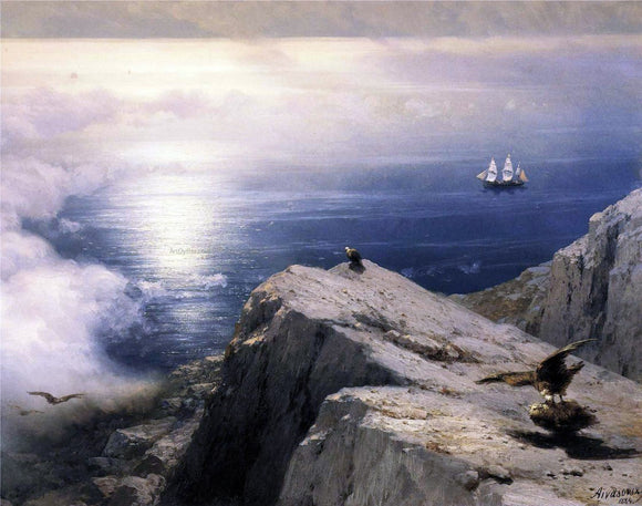 Ivan Constantinovich Aivazovsky A Rocky Coastal Landscape in the Aegean with Ships in the Distance (detail) - Canvas Art Print