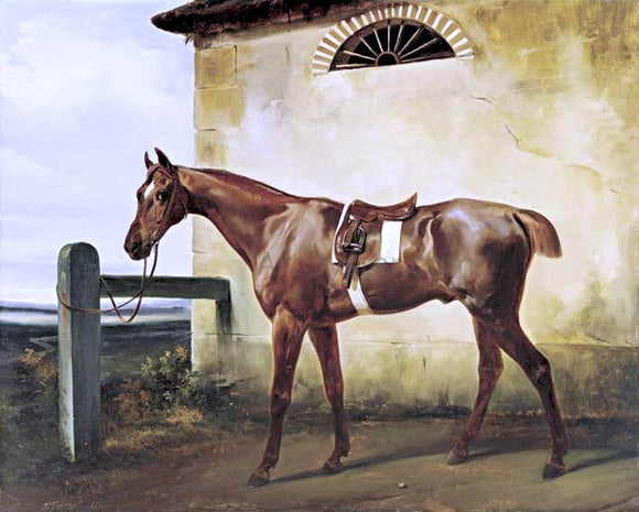 Horace Vernet A Saddled Race Horse Tied to a Fence - Canvas Art Print
