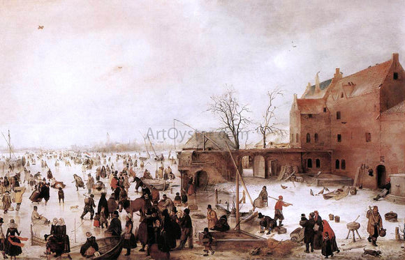 Hendrick Avercamp A Scene on the Ice near a Town - Canvas Art Print