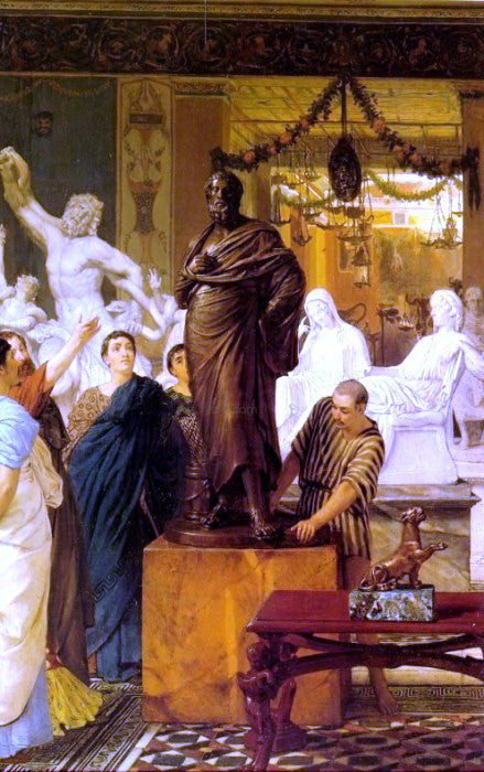 Sir Lawrence Alma-Tadema A Sculpture Gallery in Rome at the Time of Agrippa - Canvas Art Print