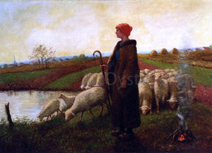 Aime Perret A Shepherdess with her Flock - Canvas Art Print