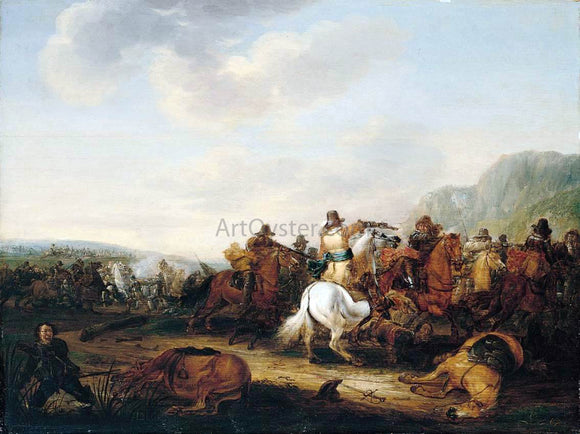 Palamedes Palamedesz A Skirmish Between Cavalry and Infantry - Canvas Art Print