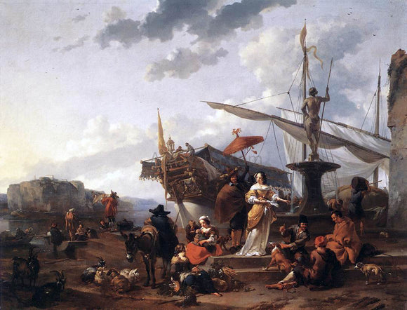 Nicolaes Berchem A Southern Harbour Scene - Canvas Art Print