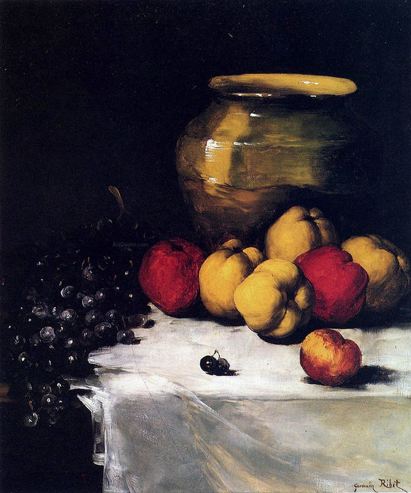 Germain Clement Ribot A Still Life With Apples and Grapes - Canvas Art Print
