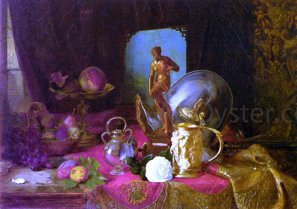 Blaise Alexandre Desgoffe A Still Life with Fruit, Objets d'Art and a White Rose on a Table - Canvas Art Print