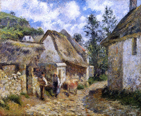 Camille Pissarro A Street in Auvers (also known as Thatched Cottages and a Cow) - Canvas Art Print