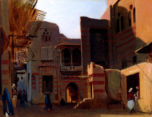 Jean-Baptiste-Adolphe Gibert A Street In Old Cairo - Canvas Art Print