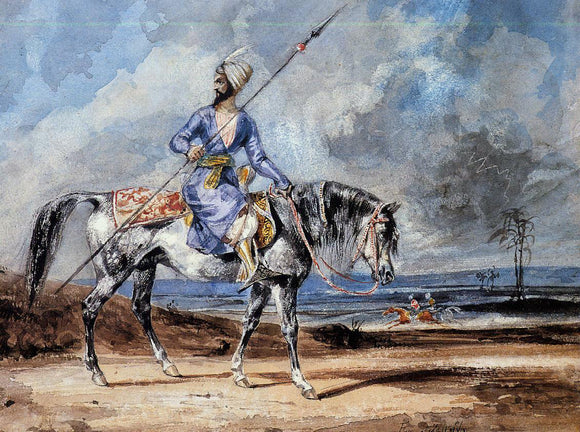 Eugene Delacroix Turkish Man on a Grey Horse - Canvas Art Print