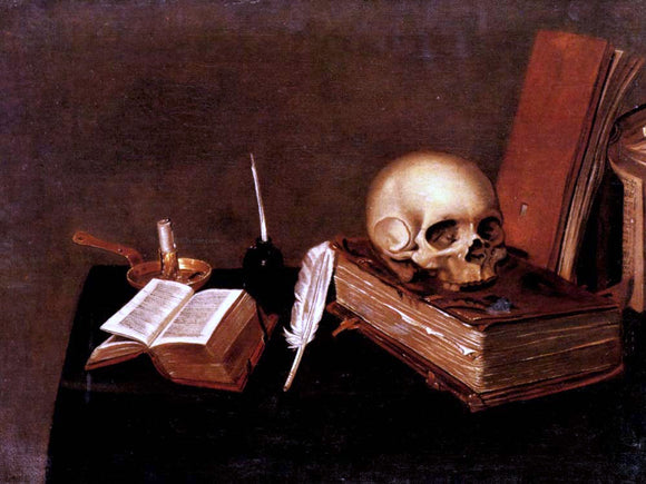 Michael Konrad Hirt A Vanitas Still Life with a Candle, an Inkwell, a Quill Pen, a Skull and Books - Canvas Art Print