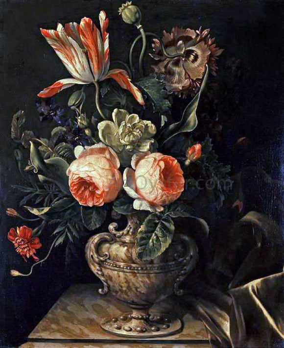 Willem Frederik Van Royen A Vase of Flowers - Canvas Art Print