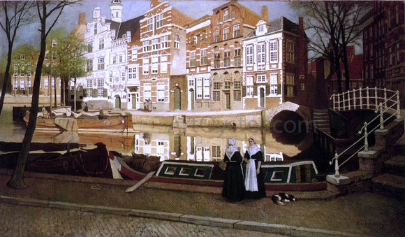 Johannes Karel Klinkenberg A View in Delfshaven with Women in Custume conversing on a Quay along a Canal - Canvas Art Print