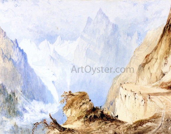 John Ruskin A View in the Alps - Canvas Art Print