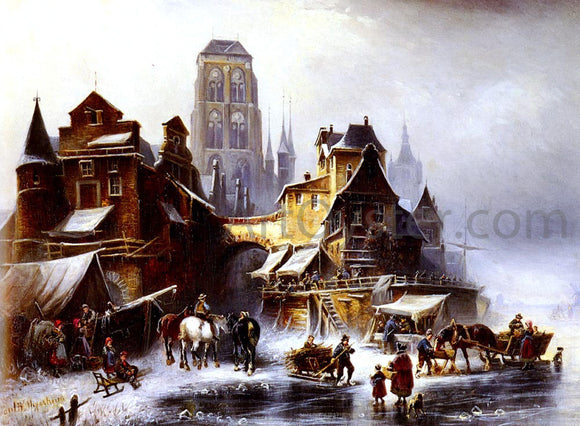 Paul Wilhelm Meyerheim A View Of Danzig In Winter - Canvas Art Print