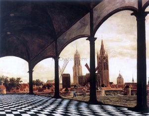 Daniel Vosmaer A View of Delft through an Imaginary Loggia - Canvas Art Print