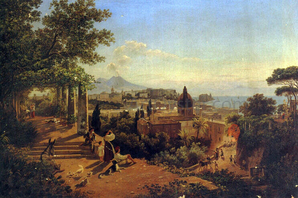 Friedrich Mayer A View of the Bay of Naples and Vesuvius - Canvas Art Print