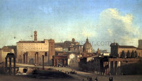 Ippolito Caffi A View Of The Forum - Canvas Art Print