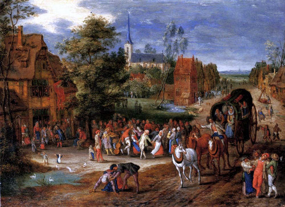 Pieter Gysels A village kermesse with a horse-drawn cart in the foreground - Canvas Art Print