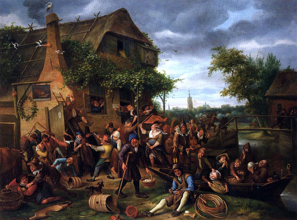 Jan Steen A Village Revel - Canvas Art Print