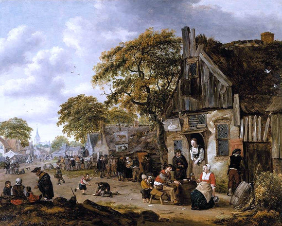 Salomon Rombouts Village Street Scene - Canvas Art Print