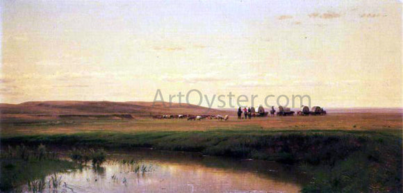 Thomas Worthington Whittredge A Wagon Train on the Plains, Platte River - Canvas Art Print