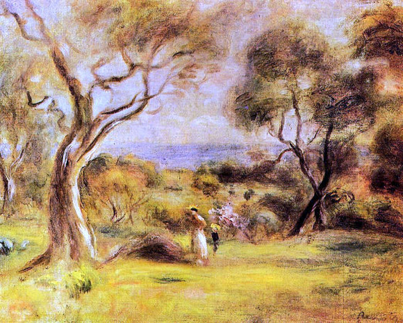 Pierre Auguste Renoir Walk by the Sea - Canvas Art Print