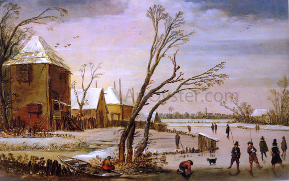 Esaias Van de Velde A Winter Landscape with Skaters on a Frozen River - Canvas Art Print
