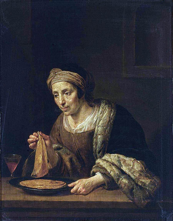 Jan Van Bijlert A Woman Holding Pancakes - Canvas Art Print