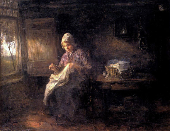 Jozef Israels Woman Sewing - Canvas Art Print